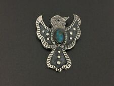 Vintage Navajo Ernest Rangel Sterling Silver Thunderbird Turquoise Pin Pendant