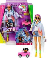 Barbie Extra Doll #5 in Long-Fringe Denim Jacket with Pet Puppy, Rainbow Braids,