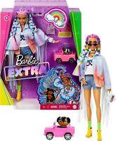 Barbie Extra Doll #5 in Long-Fringe Denim Jacket with Pet Puppy, Rainbow Braids,