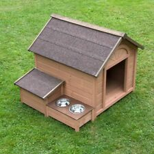 Wooden Dog Kennel Outdoor Bowls Storage Roof Opens Pitched Raised Weatherproof