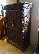 prunkvoller Sekretär Mechelen Renaissance Stil um 1890 Eiche massiv Schnitzerei