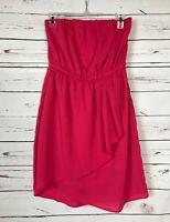 YA Los Angeles Boutique Hot Pink Party Summer Strapless Dress Women's Sz L Large