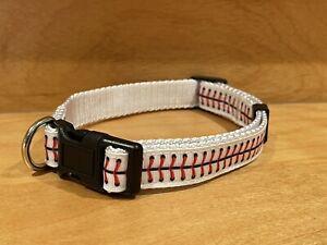 Baseball Dog Collar and Leash (Medium)