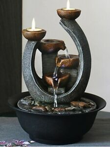 Multifunction Indoor Water Fountain & Candle Holders w/ LED Lights Free Shipping