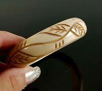 Vintage Carved Lucite Bangle Bracelet Leave Design Mid Century Chunky