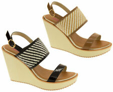 Striped Synthetic Wedge Sandals & Beach Shoes for Women
