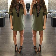 Autumn Women's 2XL V-Neck T-shirt Dress 1/2sleeve lace-up Sexy Mini dress DZ034
