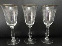 3 Bohemia Czech Crystal ETOILE Etched Flower Bulbous Stem Gold Rim Water Goblet