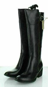 16-56  NEW $240 Women's Sz 7 M Born Fannar Leather Knee High Boot In Black