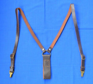 Bulgarian Army Web Gear Leather Y-Straps for Belt