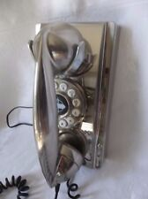 Crosley  CR55 Wall Phone Rotary Push Button  Brushed Chrome