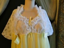 VINTAGE YELLOW LONG CHIFFON, NYLON & LACE NIGHTGOWN AND ROBE PEIGNOIR SET