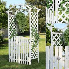 Rosenbogen + zwei Türen Weiß Holz Rankgitter Gartentür Laubengang Garten Tor
