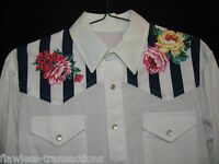 HANDMADE Mens Long Sleeve Western Pearl Snap Cowboy Rodeo White Shirt Size L NEW