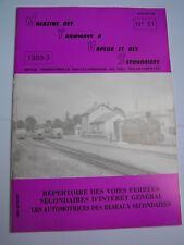 Magazine tramways vapeur secondaires 1989 51 Répertoire voies ferrées secondaire