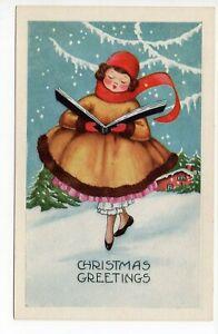 Postcard: CHRISTMAS GREETINGS, Pretty Girl Ballerina? Sings Carols, Whitney pc