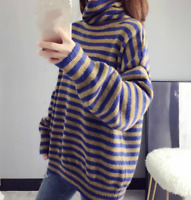 Womens Warm Fashion Neck Pullover Tops Striped Loose High Knitted Sweater Blouse