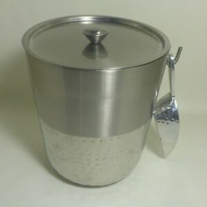 Hammered Stainless Steel Threshold Ice Bucket with Scooper Tongs and with Lid