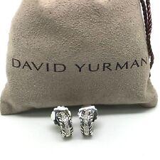DAVID YURMAN 12mm Single Diamond Row Hoop Earrings Sterling Silver