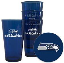 Seattle Seahawks Plastic Pint Glass - Set of 4 [NEW] NFL Cup Mug Bar