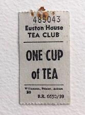Vintage British Rail Tea Voucher Coupon - Euston House Tea Club