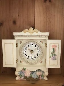 """FIGI RESIN MINI ARMOIRE TABLE TOP CLOCK BATTERY OPERATED 7-1/2"""" TALL Tested"""