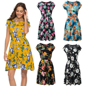 UK Sexy Ladies Sexy Dresses for Womens Floral Dress Beach Clothing Plus Size