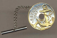 Gold on Silver Coin Tie-Tack, Spanish 50 centimes Anchor & Ships Wheel 139TT
