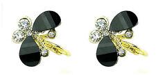 Chapado en oro resina de color negro y cristal pendientes mariposa