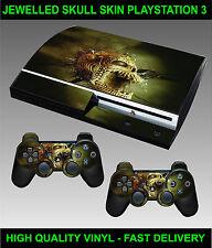 PLAYSTATION 3 Console Autocollant Pierreries Tête de Mort Skin Graphique & 2