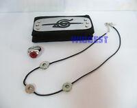 Naruto Akatsuki Uchiha Itachi Cosplay Headband + 3 Beads Necklace + Shu Ring