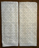 Peri Set Of 2 Bath Towels White Gray Aqua Diamonds Blanket Stitched Hem