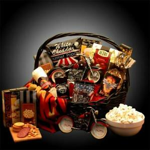 He's a Motorcycle Man/Motorcycle Themed Gift Basket for Him/Snacks/Bank