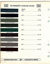 1941 PLYMOUTH 41 COLORS PAINT CHIPS 41 SHERWIN WILLIAMS 13PC
