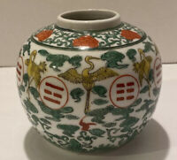 Vintage Japanese Porcelain Wares Vase Hand Decorated In Hong Kong With Cranes