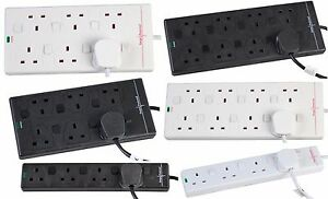 Mains Extension Leads Switched Surge Protected 4 gang 6 gang 8 gang Black White