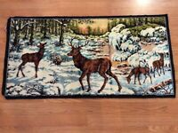 """Vintage Made In Italy 20"""" X 38"""" Deer Stag Doe Fawn Tapestry Velvet Forest Sunset"""