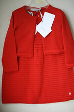 BABY DIOR RED KNITTED DRESS AND CARDIGAN 2 YEARS