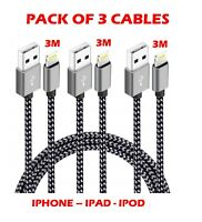 3M Extra Long Strong Braided Charger Charging Cable iPhone  6 7 8 X iPad 5 5S SE