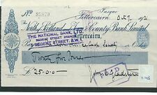 wbc. - CHEQUE - CH1013 - USED -1921- NORTH of SCOTLAND & TOWN & CTY. FETTERCAIRN