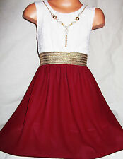 GIRLS GOLD TRIM WHITE LACE DARK RED CHIFFON DIP HEM CHIFFON PARTY DRESS age 3-4