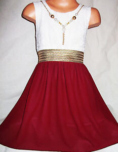 GIRLS WHITE LACE GOLD TRIM DARK RED CHIFFON CONTRAST PARTY DRESS age 3-4