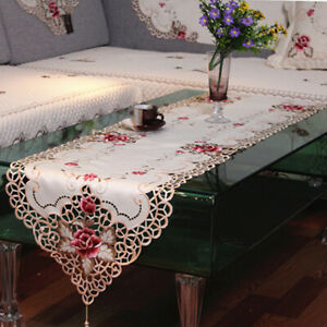 Vintage Embroidered Flower Lace Dining Table Runner Mat Wedding Party Home Decor