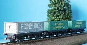 3x HORNBY PLANK WAGONS: UPLANDS TIMBER (SCOTLAND) + EDINBURGH COAL WALLFYORD