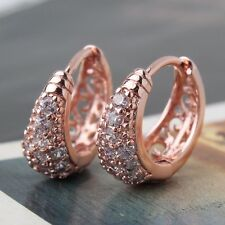 18K rose gold filled white sapphire eye-catching smart hoop earring