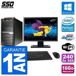 "PC Tour Acer M2610G Ecran 27"" Intel G630 RAM 16Go SSD 240Go Windows 10 Wifi"
