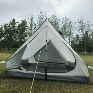 Ultralight 2-3 Person Rodless Tent Waterproof 2 Door Camping Outdoor Shelter