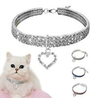 Pet Crystal Necklace Rhinestone Cat Dog Collar Pendant Accessories Puppy W7F9