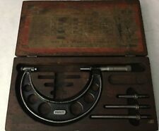 "STARRETT Outside Micrometer - 0 to 4"" - No. 224 Set AA - Wood Box"