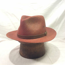Red Brown Genuine Panama Straw Men's Hat with Brown Leather Band Vintage
